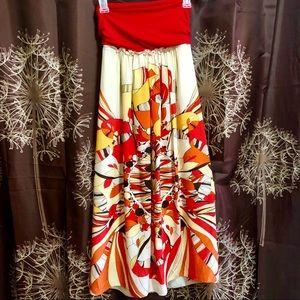 ARDEN B | Beautiful SILK Strapless Floral Dress S